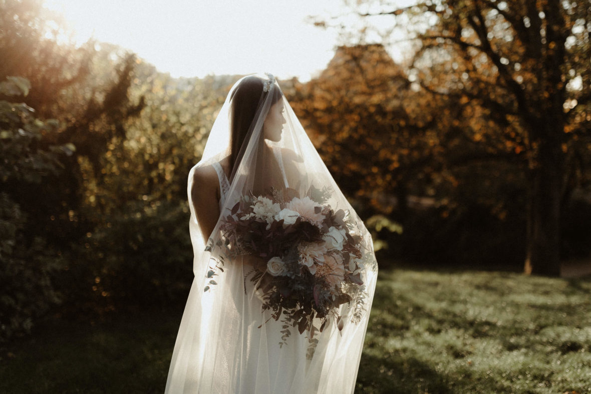 Sunset session bride in Paris for fashion editorial with Camille Marguet wedding dress